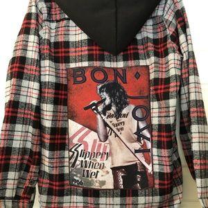 Other - Bon Jovi hooded flannel